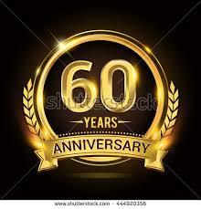 celebrating 60 years celebrating 60 years anniversary logo golden stock vector