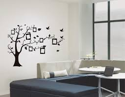 cat chasing the birds under tree wall decal sticker black bird on black diy photo frame tree vine flower art mural wall sticker new with size5070 cm