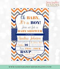 polka dots invitations baby boy shower invitation chevron polka dots orange navy blue