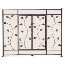 leaf u0026 vine fireplace screen with doors brushed bronze