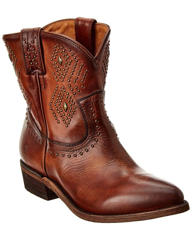 Frye Billy Stud Short Leather Boot, 7.5, Brown