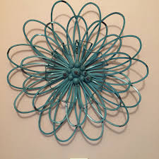 Modern Retro Home Decor 3d Turquoise Flower E2 80 94 Crafthubs Wrought Metal Wall Art