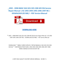 1992 1998 bmw 318i 323i 325i 328i m3 e36 service repair manual