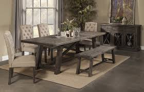 dining table center rustic dining table 4 chairs 1 rustic bench 6 pc