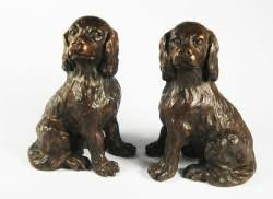 pair of king charles cavalier spaniels bronze ornaments