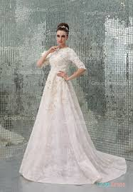 couture wedding dress crew neck half sleeve lace appliqued embroidered organza hautue