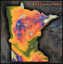 Us Map Topography Colorful Minnesota Topography Map 3d Physical Terrain
