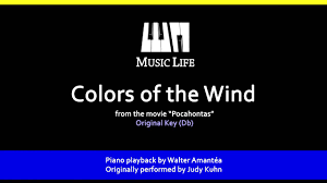 colors of the wind piano playback for karaoke cover youtube