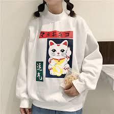 cat sweater high neck lucky cat sweater ohlala harajuku store