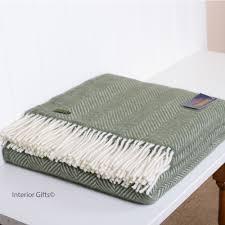 Green Throw Rug Wool Fishbone Olive Green Throw Tweedmill In With Cream Fringe