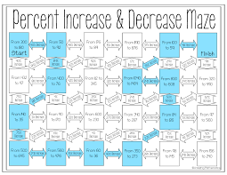 percent increase and decrease maze percents maze and worksheets