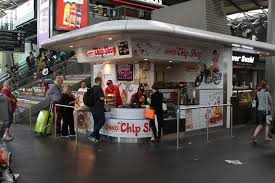 temporary chiko chip shop setup on the collins concourse