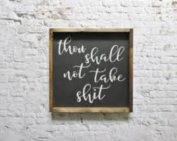 Funny Home Decor Signs Thou Shall Not Etsy