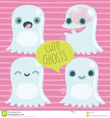 cute cartoon ghost set funny halloween character stock photo