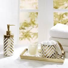 Silver Bathroom Accessories Sets Madison Park Gold Silver Chevron 3 Piece Ceramic Bath Accessory