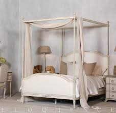 Upholstered Canopy Bed Eloquence Dauphine Canopy Bed In Weathered White Kathy Kuo