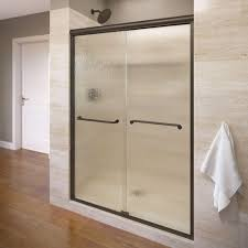 Shower Doors Basco Basco Infinity 47 In X 70 In Semi Frameless Sliding Shower Door