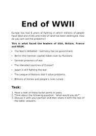 end of wwii activity worksheet history