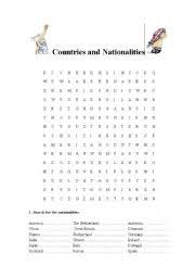 word search nationalities printable english worksheets countries and nationalities