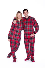 flannel footed pajamas in and black plaid onesie for