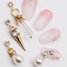 aliexpress buy new arrival 10pcs upscale jewelry 10pcs luxury metal rhinestone pearl tassel charm jewelry 3d