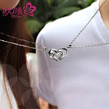 engraved necklaces for ouyan couples necklaces interlocking open heart puzzle pendants