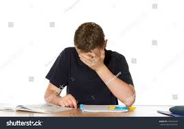 Open Front Student Desk by Young Teenage Boy Overwhelmed By His Stock Photo 105432629