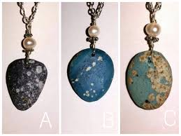 necklace blue stone images Leland blue stone petoskey stone beachglass up north jewlery jpg
