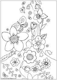 coloring pictures of flowers to print spring flowers colouring page coloring for kids 8571