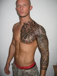 tribal sleeve and chest tattoos photo 2 photo pictures