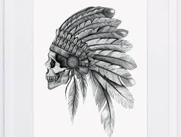 nzfinch a4 indian chief skull digital print of original artwork felt