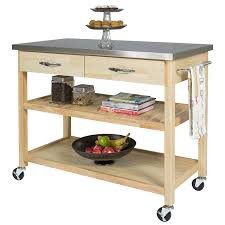 kitchen island casters amazon com best choice products natural wood mobile kitchen