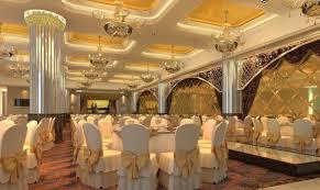 golden luxury restaurant lobby render for wedding banquet