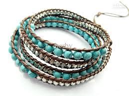 bead wrap bracelet leather images 2016 6mm blue turquoise bead wrap bracelet new design handmade jpg