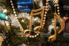 Musical Note Ornaments Gold Musical Note Ornaments Hanging On Tree Stock Photo