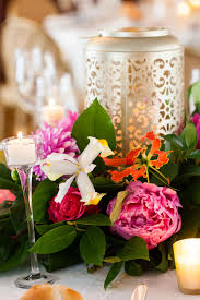 wedding table centerpiece with silver lantern candle holder