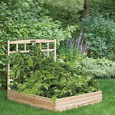 Wooden Planter With Trellis Raised Garden Bed Planter Box With Trellis In Unfinished Cedar