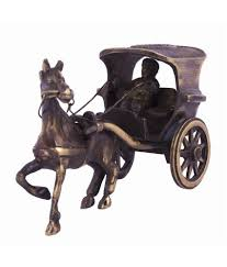 horse statues for home decor craft art india antique brown finish single horse chariot brass
