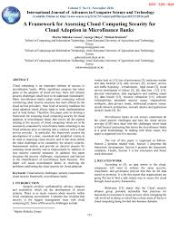 microfinance thesis a framework for assessing cloud computing security for cloud a framework for assessing cloud computing security for cloud adoption in microfinance banks by the world academy of research in science and engineering