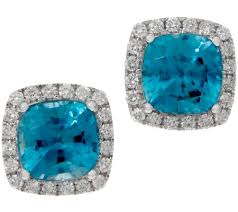 blue diamond stud earrings cushion blue zircon and diamond stud earrings 14k 4 00 cttw