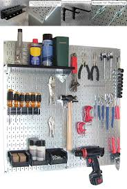 how to organize garage using wall mounted steel pegboard tool