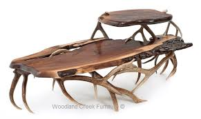 Rustic Walnut Coffee Table Antler Coffee Table Antler Cocktail Table Antler Furniture