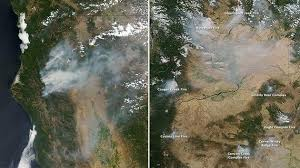 map of oregon smoke nasa images with thick plumes of smoke illustrate spread of