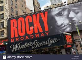 winter garden theater rocky billboard on broadway new york stock