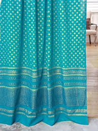 Peacock Blue Sheer Curtains Jeweled Peacock Turquoise Blue And Gold Sari Sheer