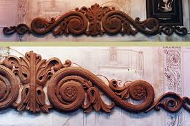 custom architectural wood carving ornament