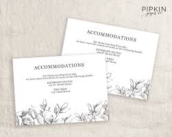 accommodations cards printable wedding directions