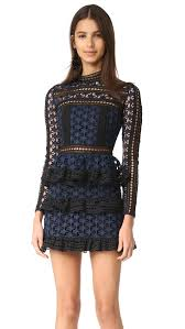 high neck dress shop self portrait high neck lace dress in navy at modalist