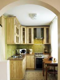 Wonderful Diy Small Kitchen With Wooden Storage Green Tile Wall