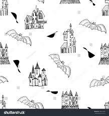 vector seamless pattern halloween bat trees stock vector 496519288